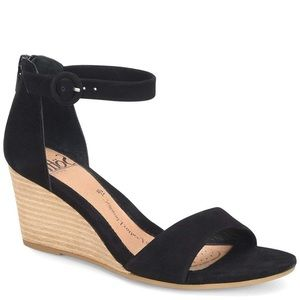 Söfft Black Suede Marla Ankle Strap Wedge Sandals